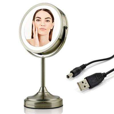 Dual-Sided LED Lighted Tabletop Makeup Mirror with Rechargeable and Wireless, 1x 7x Magnification