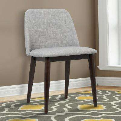 Horizon 30 in. Light Gray Fabric and Brown Wood Finish Contemporary Dining Chair (Set of 2)