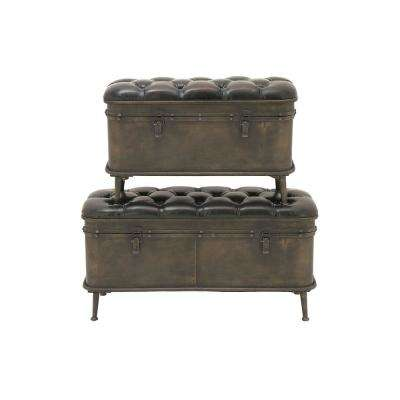 Mahogany Brown Tufted Storage Benches (Set of 2)