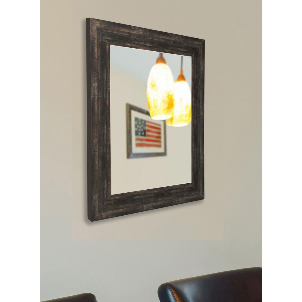 48 in. x 36 in. Brushed Classic Brown Non Beveled Vanity Wall Mirror ...
