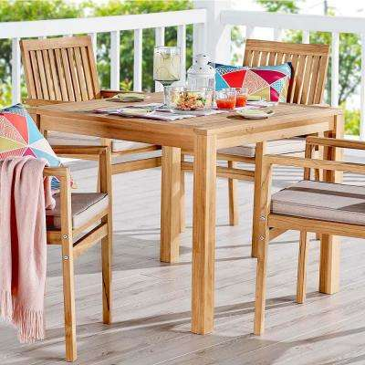 Farmstay 36 in. Teak Wood Outdoor Dining Table in Natural