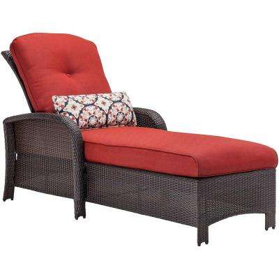 Strathmere All-Weather Wicker Patio Chaise Lounge with Crimson Red Cushion