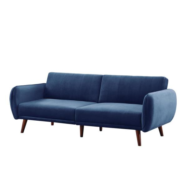 84 in. W Dark Blue Lawson Fabric 3 Seats Full Sleeper Convertible Sofa Beds with Flared Arms
