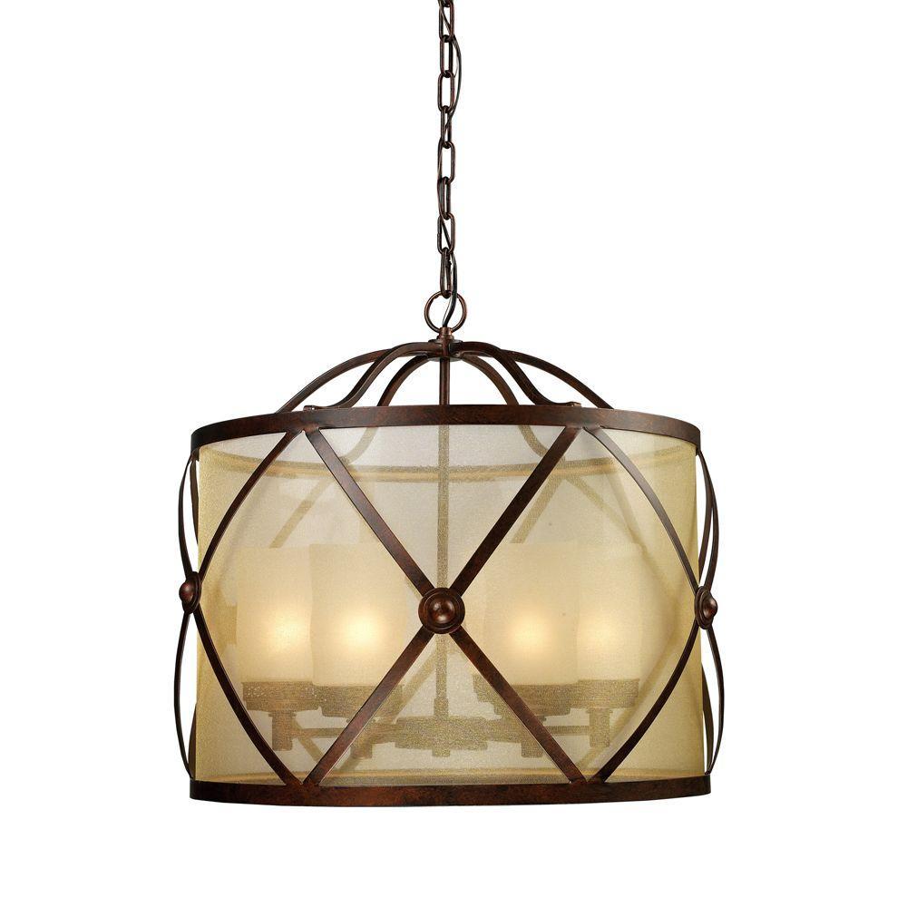 Titan Lighting Cumberland 6-Light Classic Bronze Chandelier With Amber Organza Shade