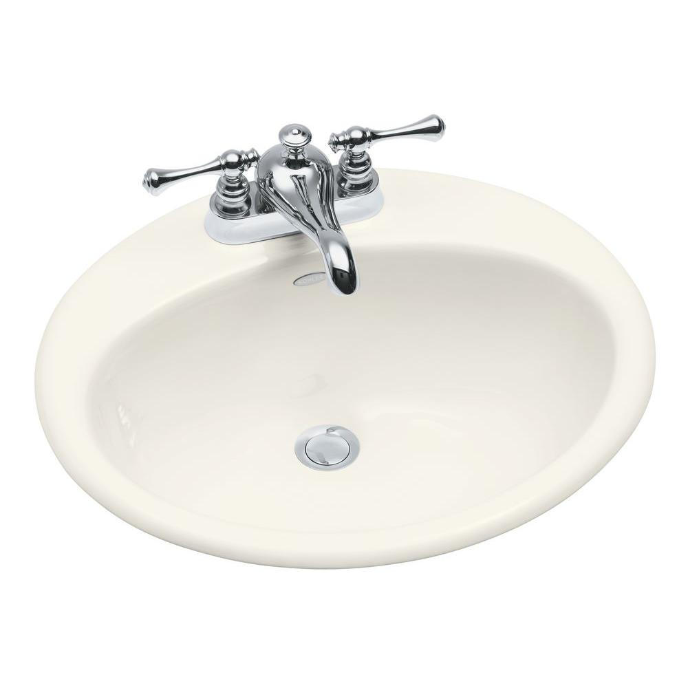 KOHLER Farmington Drop In Cast Iron Bathroom Sink In Biscuit With Overflow  Drain