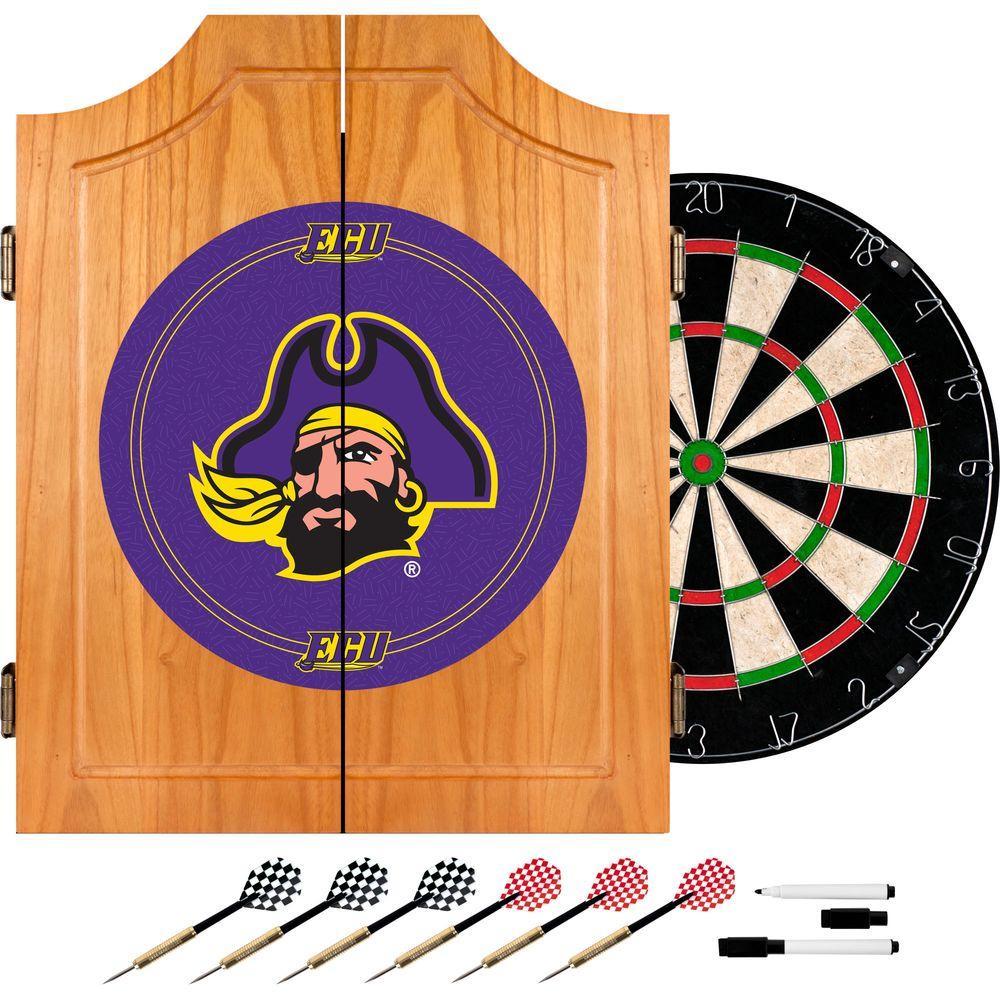 Trademark East Carolina University Wood Finish Dart Cabinet Set