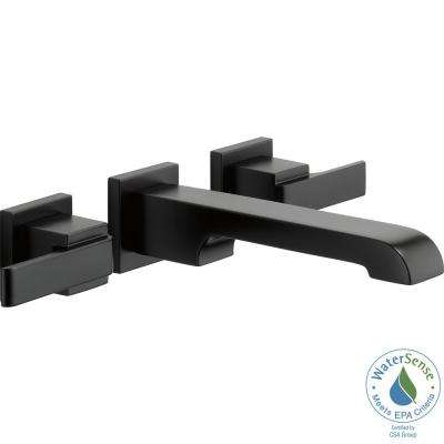Ara 8 in. Widespread 2-Handle Wall Mount Bathroom Faucet Trim Kit in Matte Black (Valve Not Included)