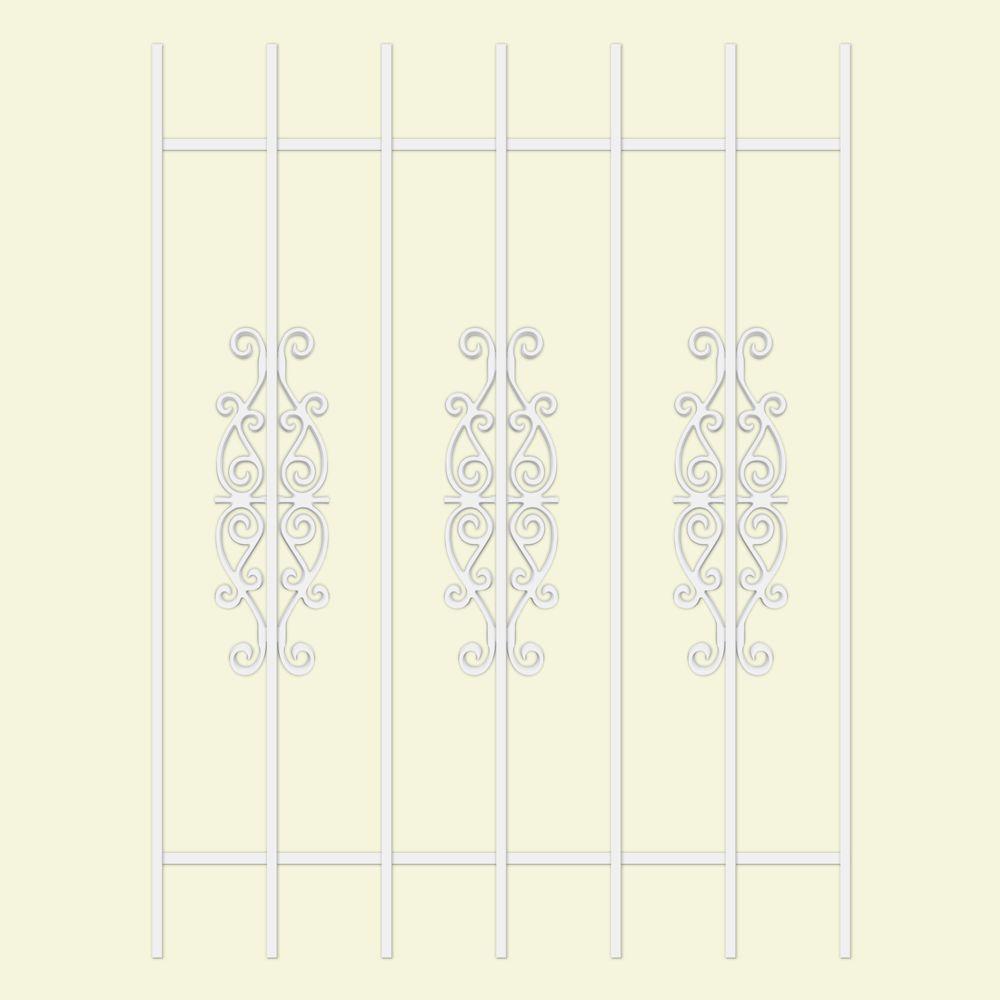 Unique Home Designs Victorian Scrolls 36 in. x 48 in. White 7-Bar Window Guard-DISCONTINUED