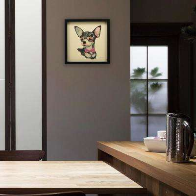 """17 in. x 17 in. """"Chihuahua"""" Dimensional Collage Framed Graphic Art Under Glass Wall Art"""
