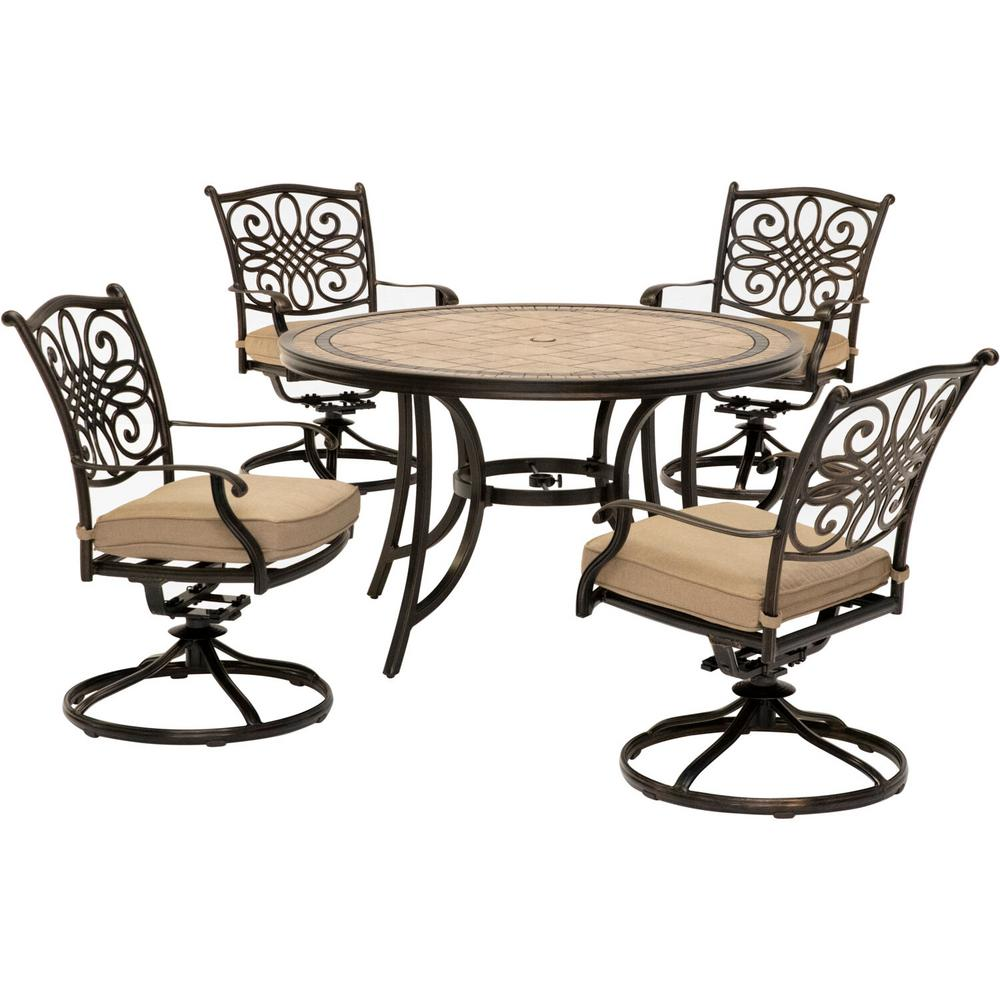 Hanover Monaco 5 Piece Round Patio Dining Set With Four Swivel Rockers And Natural Oat Cushions Mondn5pcsw 4 The Home Depot