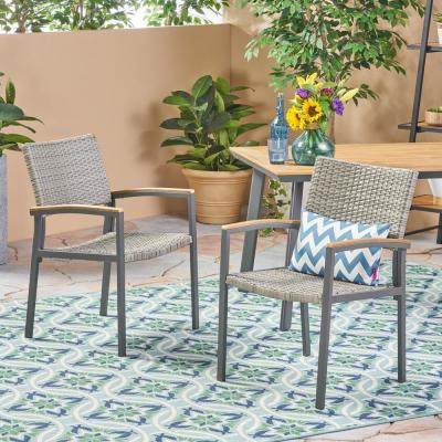 Legacy Gray Stationary Wicker Outdoor Dining Chair (2-Pack)
