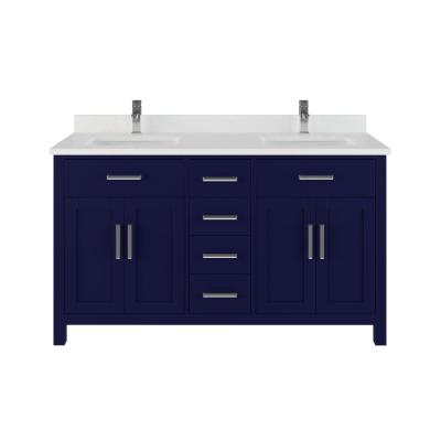 Kali 60 in. W x 22 in. D Bath Vanity in Blue ENGRD Stone Vanity Top in White with White Basin Power Bar and Organizer