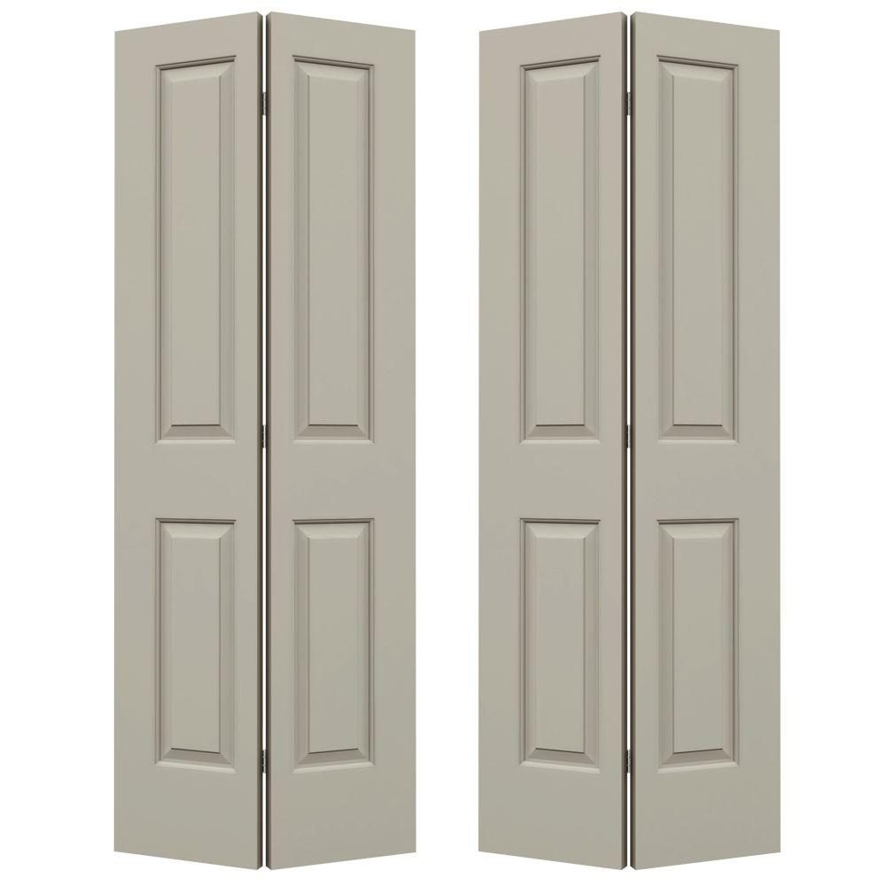 JELD-WEN 36 in. x 80 in. Cambridge Desert Sand Painted Smooth Molded Composite MDF Closet Bi-fold Double Door -  THDJW160100120
