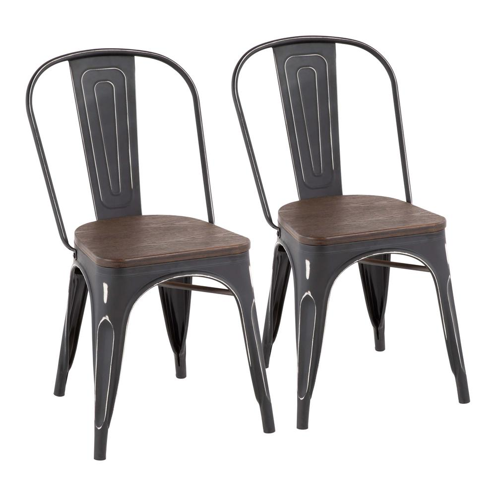 Lumisource Oregon Vintage Antique Black And Espresso Dining Chair (Set Of 2)