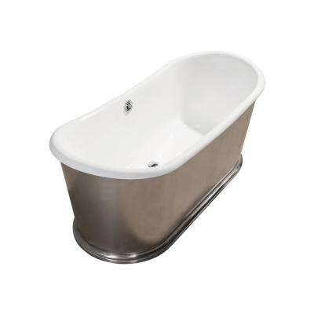 72 in. Cast Iron Flatbottom Non-Whirlpool Bathtub in Silver