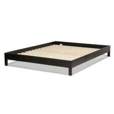 Murray Black Queen Platform Bed with Wooden Box Frame