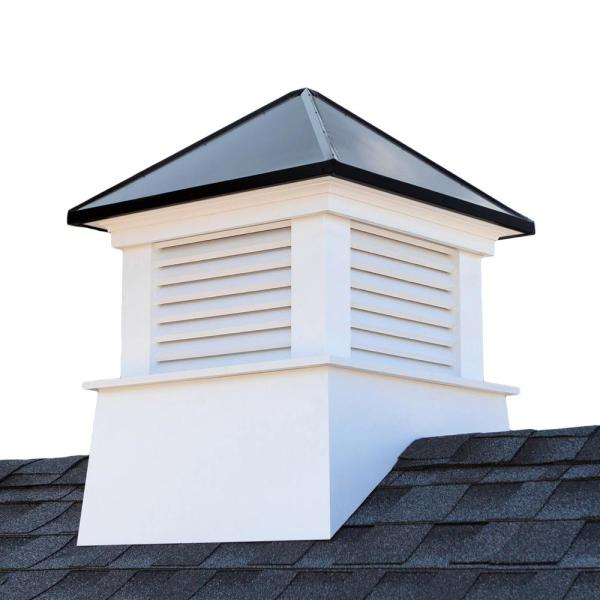 Manchester 26 in. x 26 in. x 32 in. H Square Vinyl Cupola with Black Aluminum Roof
