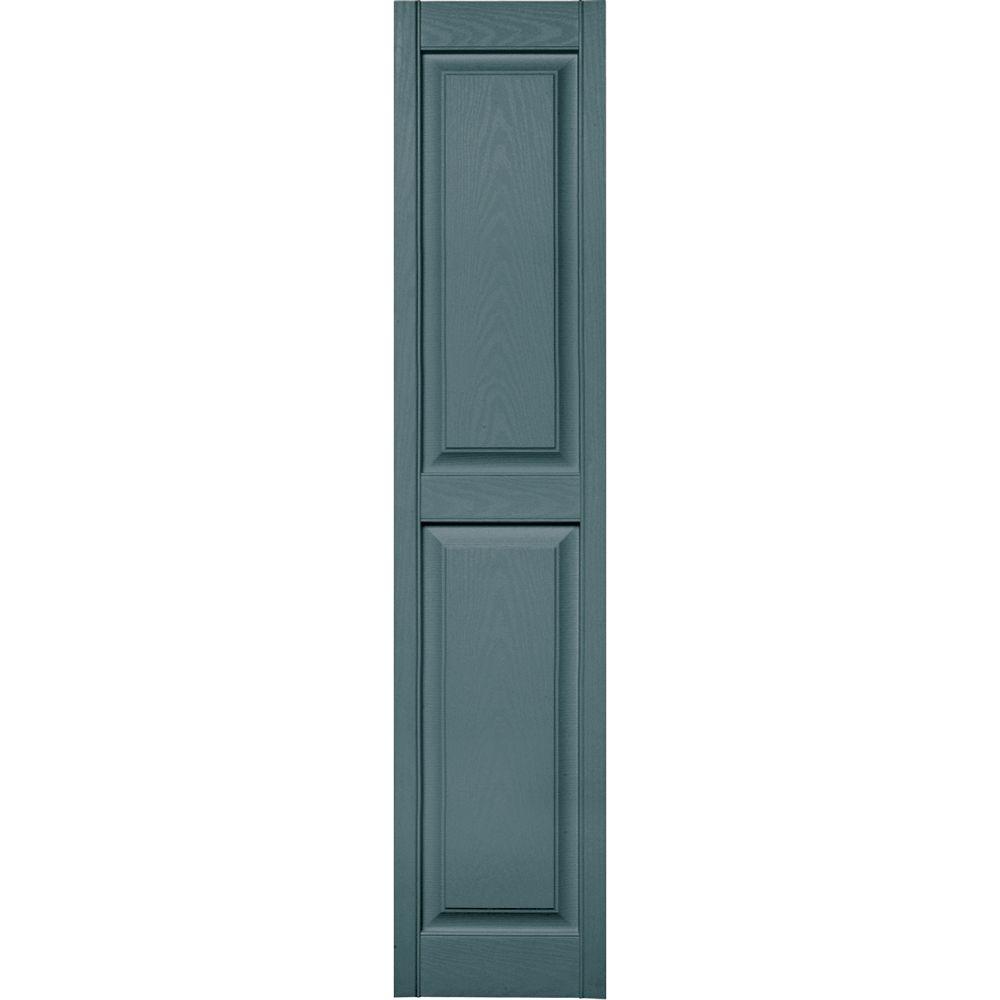 15 in. x 71 in. Raised Panel Vinyl Exterior Shutters Pair in #004 Wedgewood Blue