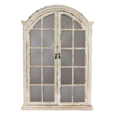 Emily Distressed Cream Window Wall Mirror