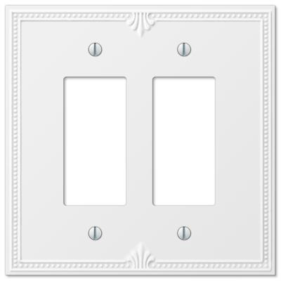 Richmond 2 Gang Rocker Composite Wall Plate - White