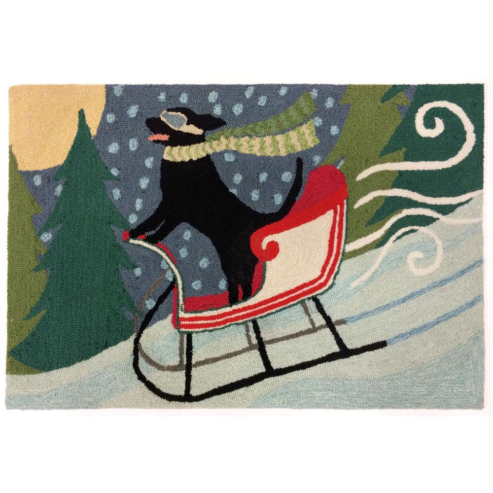 Woodside Racing Dog Multi 2 ft. x 3 ft. Rectangle Indoor/Outdoor Accent Rug
