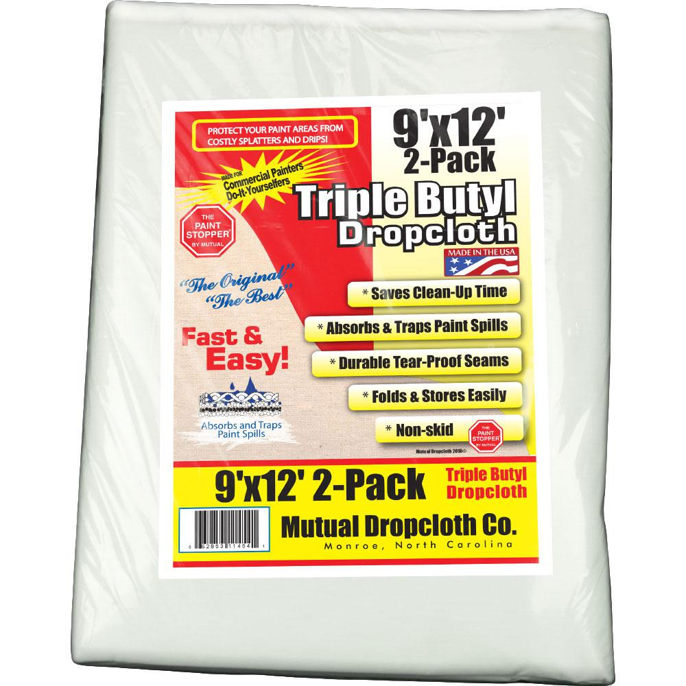 9 ft. x 12 ft. Triple Coated Butyl Drop Cloth White the Original Paint Stopper (2-Pack)