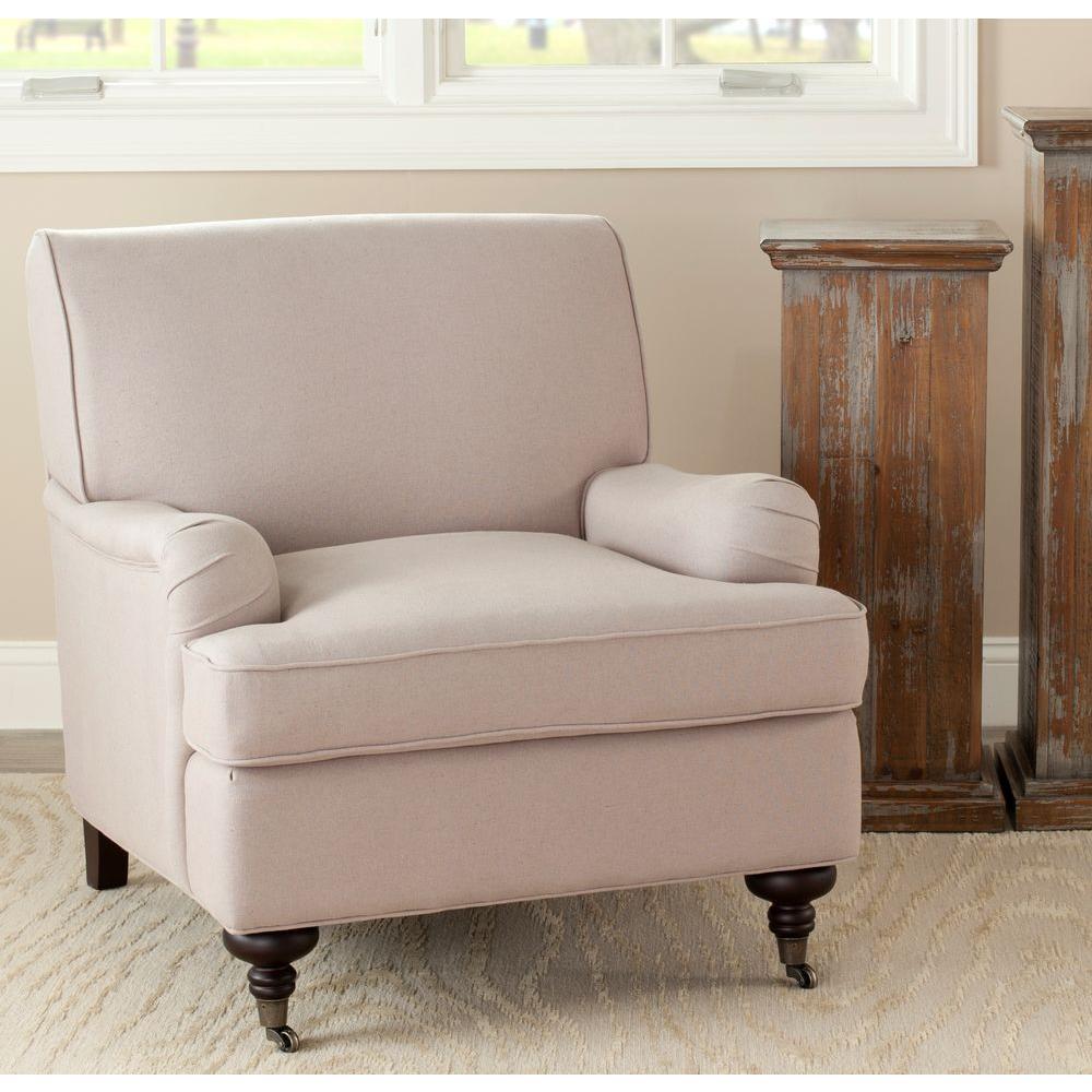 SAFAVIEH Safavieh Chloe Taupe/Java Linen Club Arm Chair
