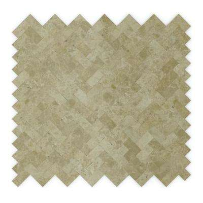 Macademia Beige 12.09 in. x 11.65 in. x 5 mm Stone Self-Adhesive Wall Mosaic Tile