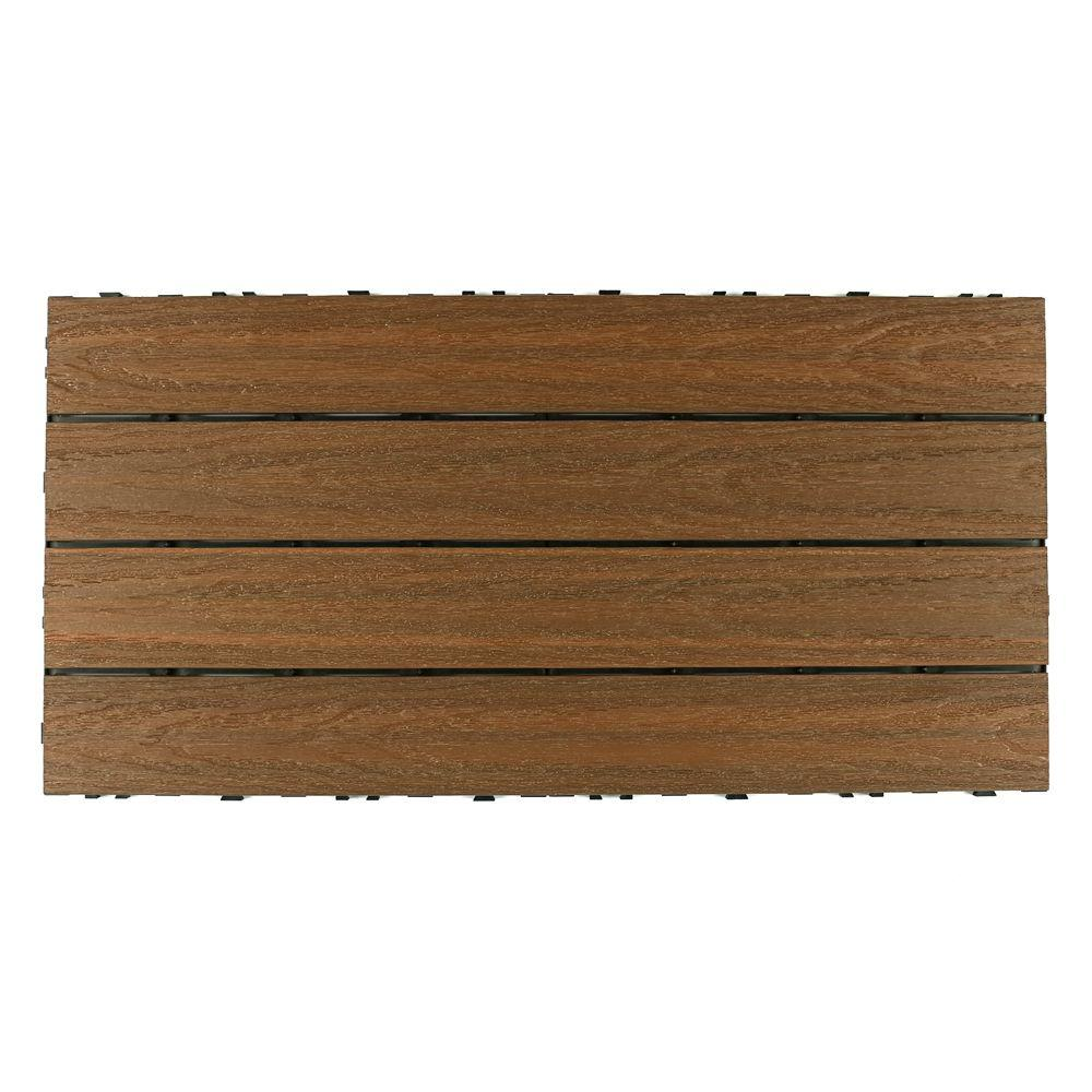 NewTechWood UltraShield Naturale 2 ft. x 1 ft. Quick Deck Outdoor Composite Deck Tile in Peruvian Teak (20 sq. ft. Per Box)
