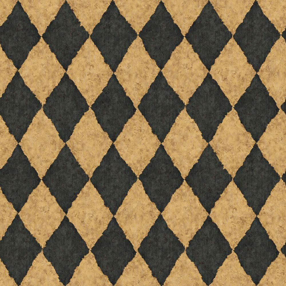 The Wallpaper Company 56 sq. ft. Black and Brown Diamond Harlequin Wallpaper-DISCONTINUED