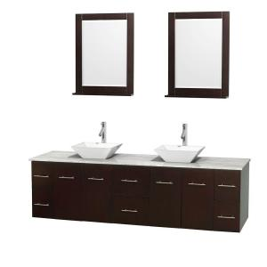 Wyndham Collection Centra 80 inch Double Vanity in Espresso with Marble Vanity Top in Carrara White, Porcelain Sinks and... by Wyndham Collection