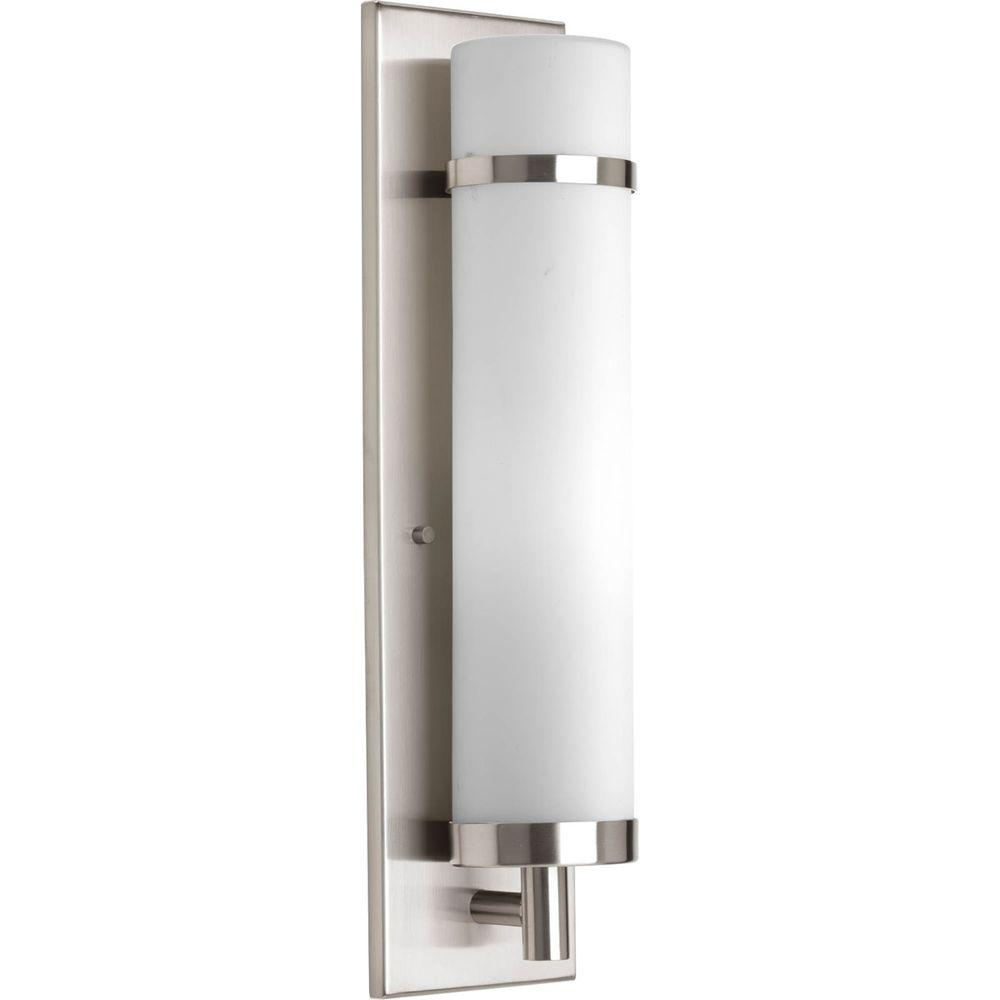 Progress Lighting 1 Light Brushed Nickel Fluorescent Wall Sconce With Opal Etched Glass P7082 09