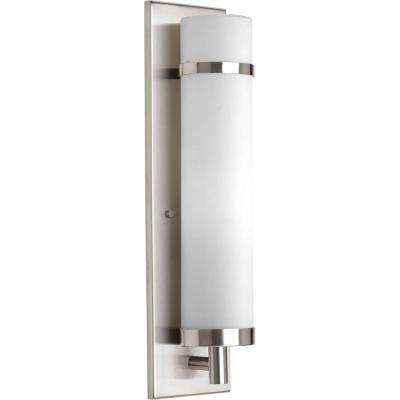 1-Light Brushed Nickel Fluorescent Wall Sconce with Opal Etched Glass