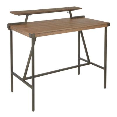 Gia Industrial Counter Height Dining Table with Removable Shelf in Antique Metal and Brown Wood