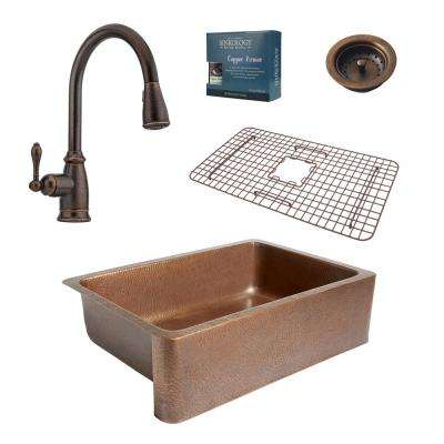 Pfister All-In-One Adams Farmhouse Copper 33 in. Kitchen Sink Design Kit with Rustic Bronze Pull Down Faucet