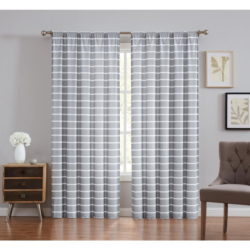 Truly Soft Maddow Stripe Grey Light Filtering Window Panel Pair - 50 in. W x 84 in. L