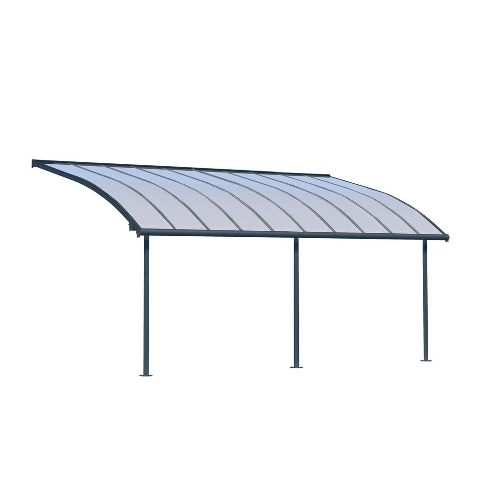 Palram Feria 10 Ft X 34 Ft Grey Patio Cover Awning
