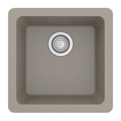 Undermount Quartz Composite 17 in. Bar Single Bowl Sink in Concrete
