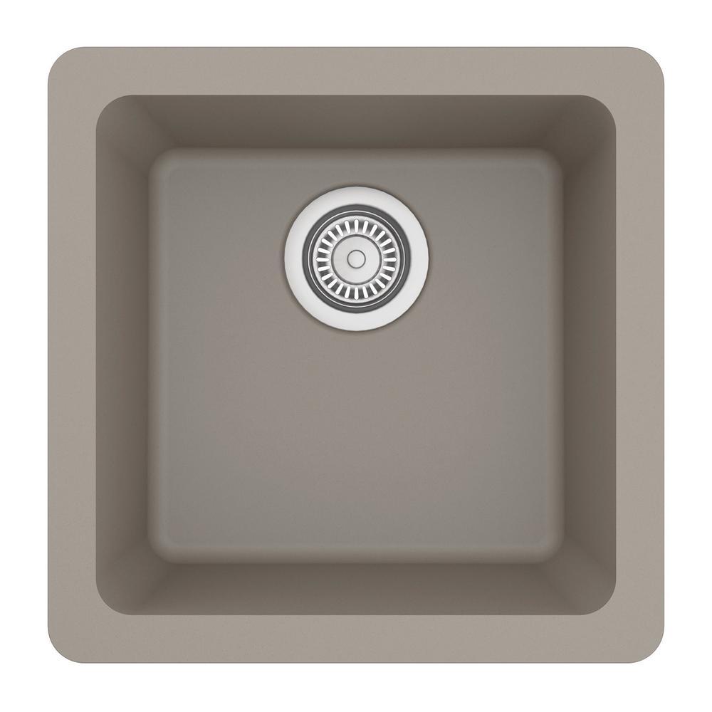 Gray Quartz 17 in. Undermount Bar Sink