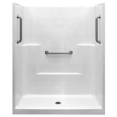Classic 33 in. x 60 in. x 77 in. 1-Piece Low Threshold Shower Stall in White, Stainless Steel Grab Bars, Center Drain
