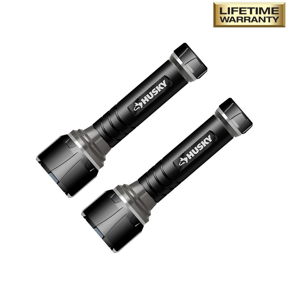 HomeDepot.com deals on 2-Pack Husky 500 Lumens LED Virtually Unbreakable Flashlight