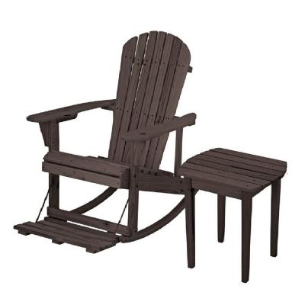 Zero Gravity Dark Brown 2-Piece Wood Adirondack Rocking Chair Bistro Set