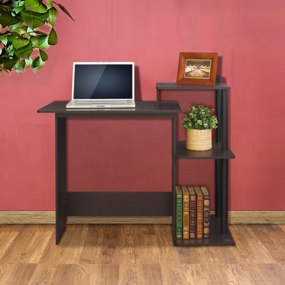 efficient espresso and black home computer desk with shelves