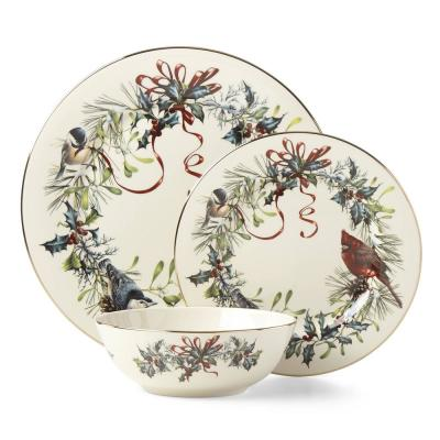 Winter Greetings Bone China Dinnerware Set (3-Piece)