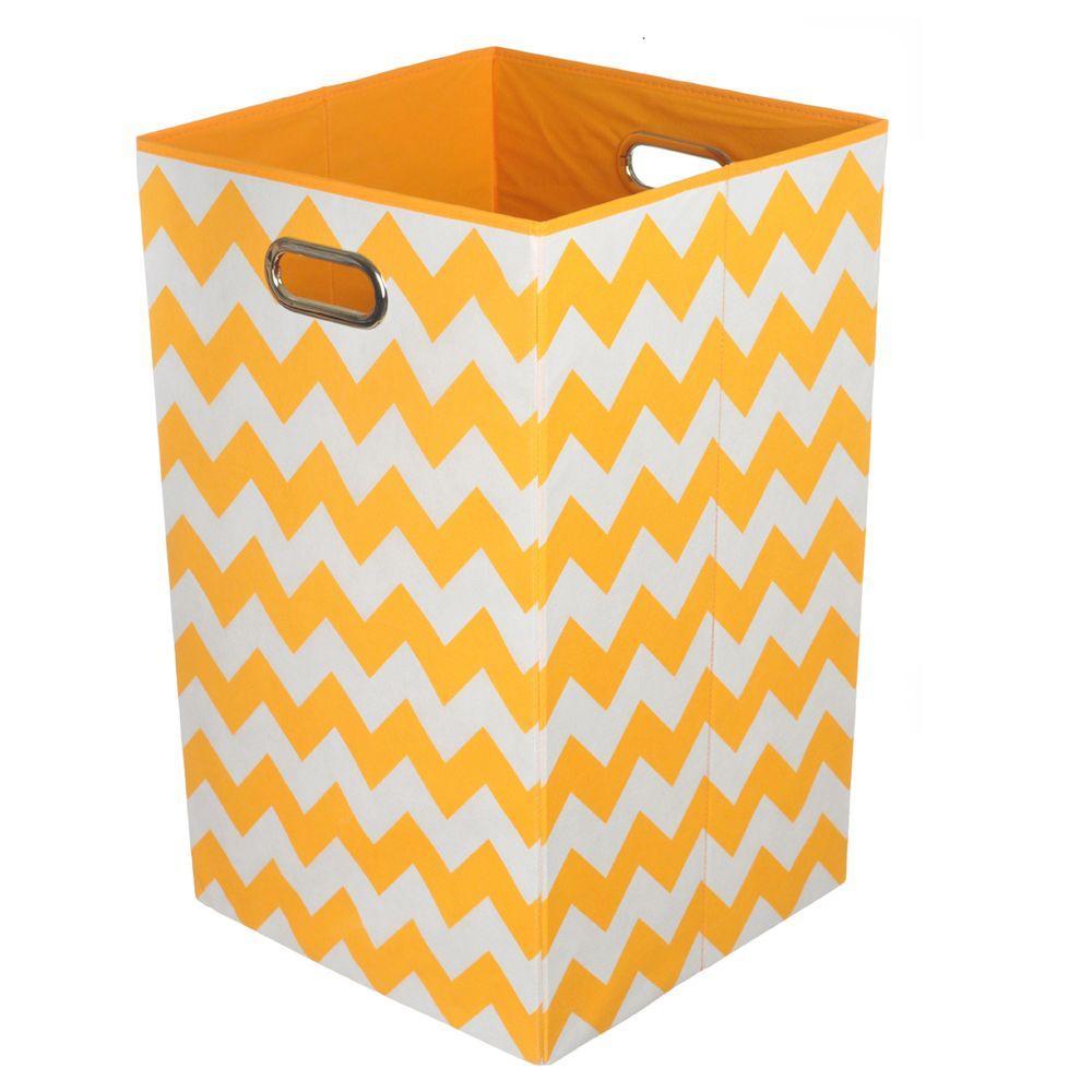 Bold Orange Chevron Folding Laundry Basket