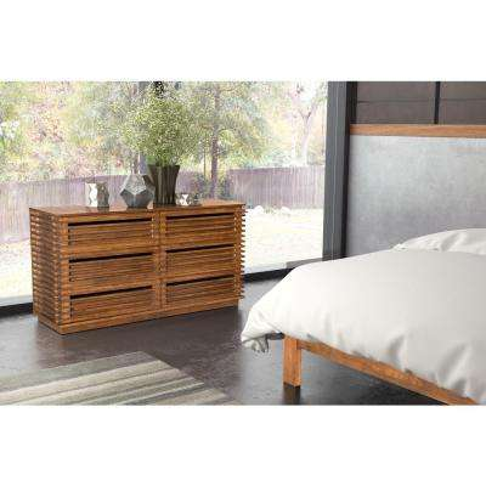 Linea 6 Drawer Walnut Dresser