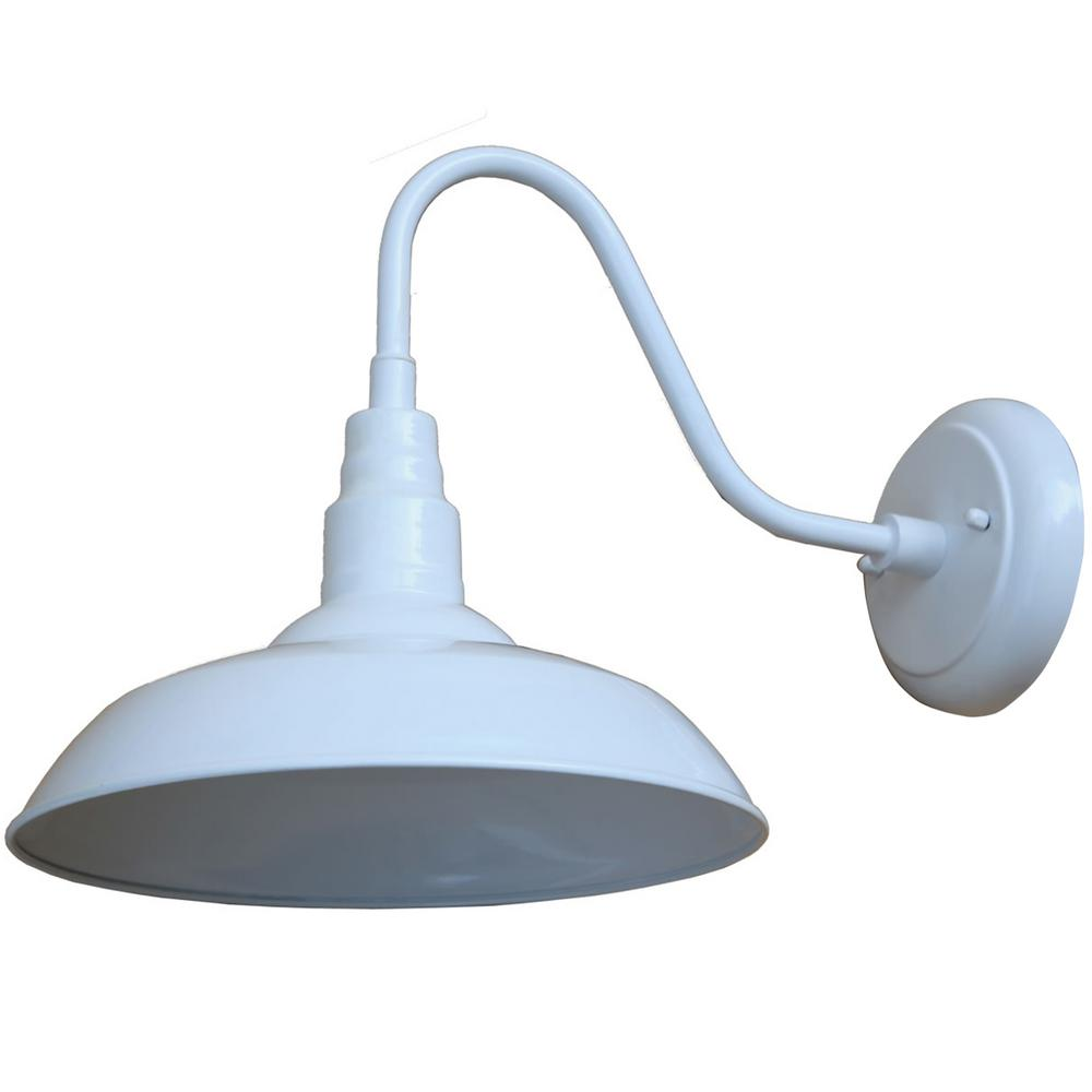 Y decor 1 light white outdoor wall mount barn light sconce