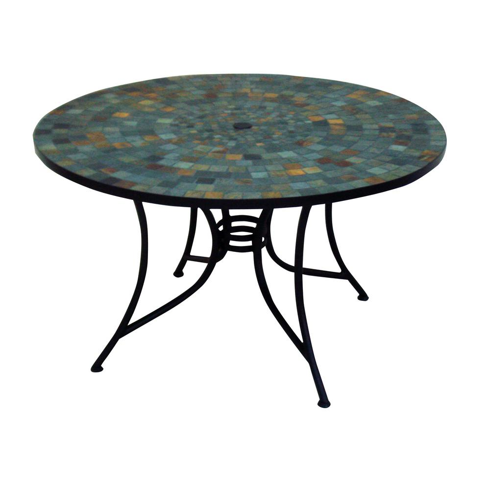 home styles stone harbor 51 in round slate tile top patio dining table 5601 36 the home depot. Black Bedroom Furniture Sets. Home Design Ideas