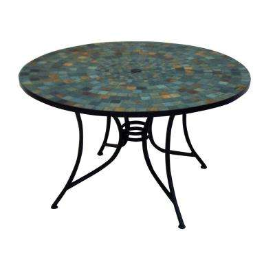Round Slate Tile Top Patio Dining Table