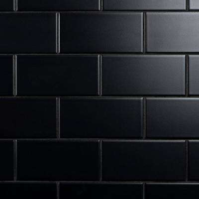 Crown Heights 3 in. x 6 in. Matte Black Ceramic Wall Tile (6.03 sq. ft. /Case)